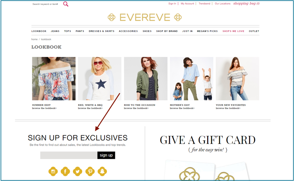 build your email list like evereve