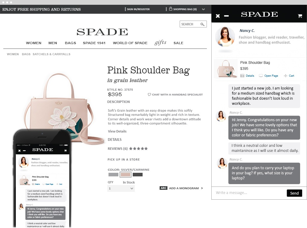 kate spade on-site chat