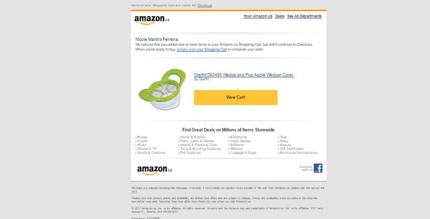 reduce cart abandonment - amazon email