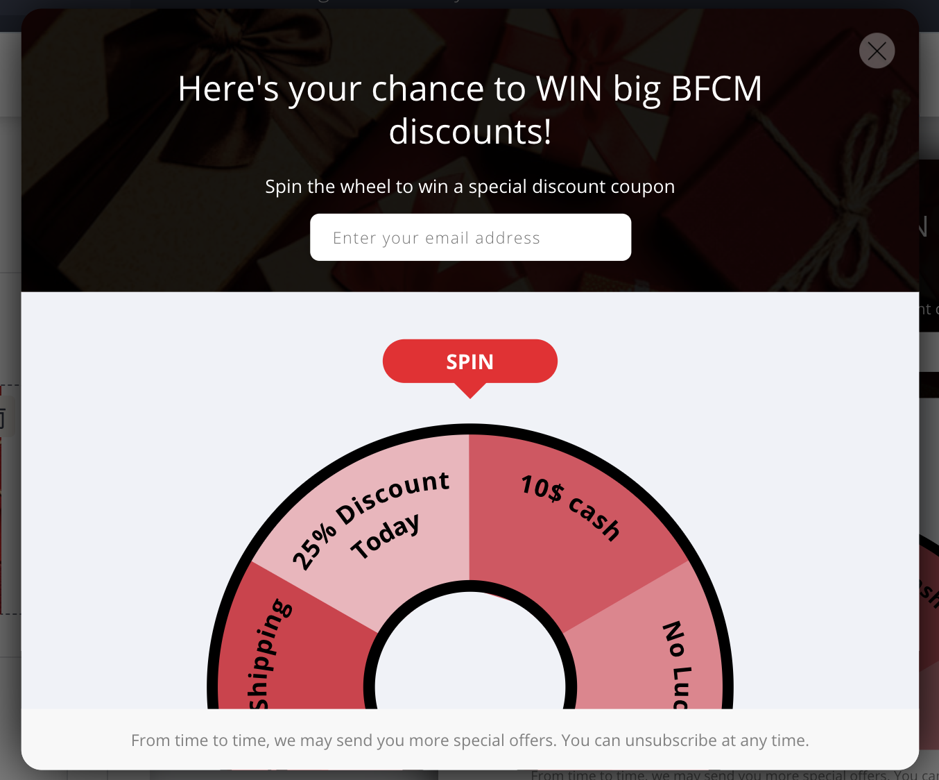 spin the wheel - bfcm marketing - email popup strategy