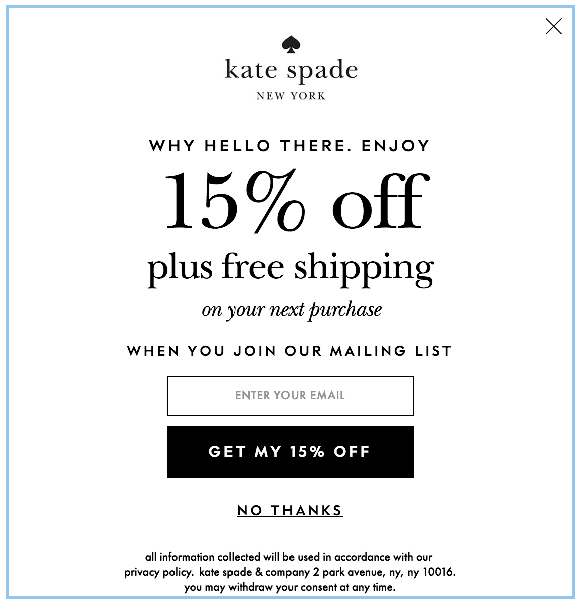 kate spade personalized email